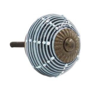 Blue and Black Striped Decorative Knobs (Pack of 6)