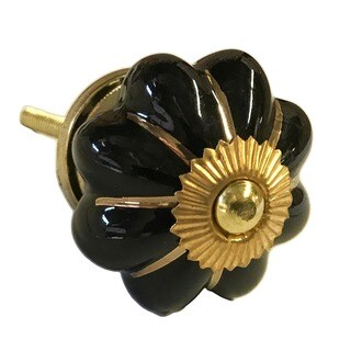 Black with Gold Trim Ceramic Drawer Pulls Knobs (Pack of 6)