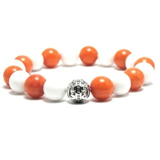 Women's White Orange 10mm Bead Stretch Bracelet