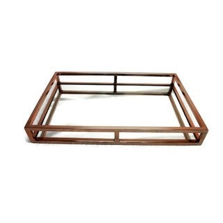 Elegance Copper Rectangular Mirror Stainless Steel Tray
