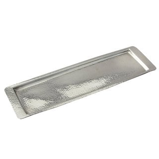 "Elegance Stainless Steel Hammered Rect Tray 17.75""L x 5.5"" W"