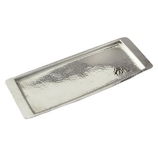"Elegance Stainless Steel Hammered Rect Tray 13.75""L x 4.5"" W"