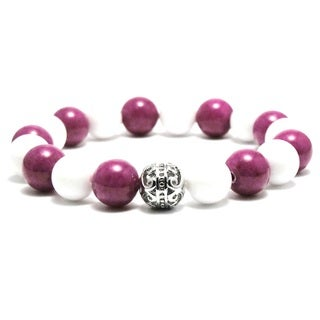AALILLY Women's 10mm White and Purple Natural Beads Stretch Bracelet
