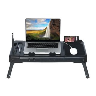 Black 26-inches x 13-inches Laptop Table Stand With Repositionable LED Light, Integrated Cooling Fan, and 4 USB Ports