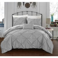 Clay Alder Home Denver Silver Pinch Pleated 4-piece Duvet Cover Set