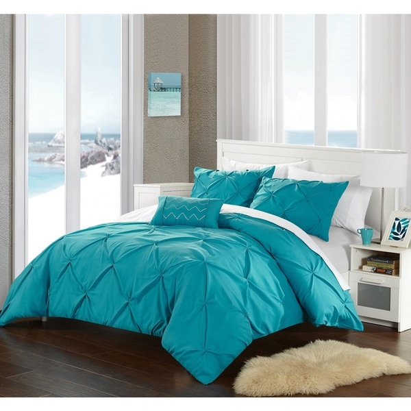 Chic Home Whitley Turquoise Pinch Pleated 4 Piece Duvet