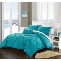 Clay Alder Home Denver Turquoise Pinch Pleated 4-piece Duvet Cover Set