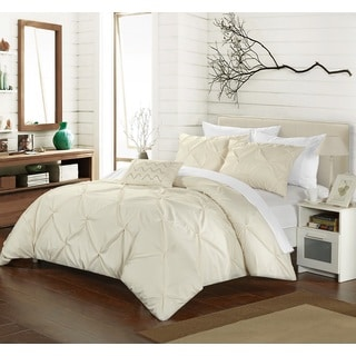 Chic Home Whitley Cream Pinch Pleated 4-piece Duvet Cover Set