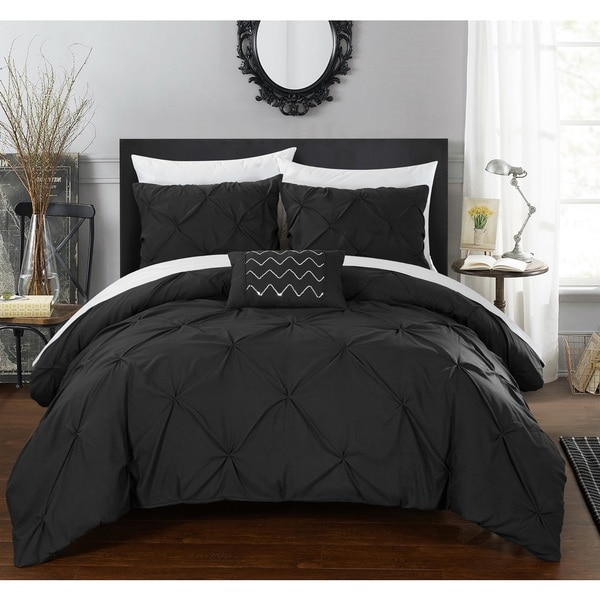 chic home whitley black pinch pleated 4piece duvet cover set free shipping today