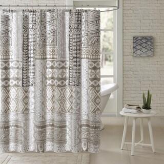 Urban Habitat Archer Taupe Cotton Printed Shower Curtain