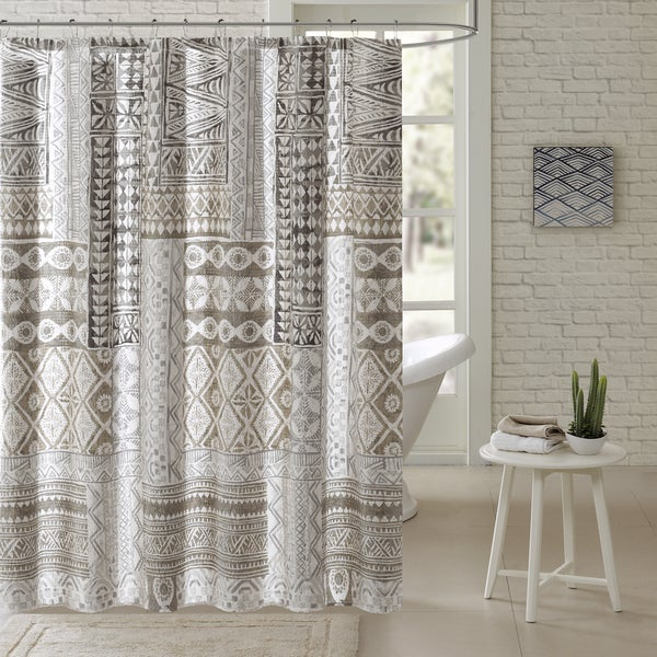 Urban Habitat Archer Taupe Cotton Printed Shower Curtain