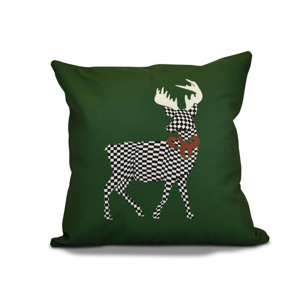 26 x 26-inch Merry Deer Animal Holiday Print Pillow