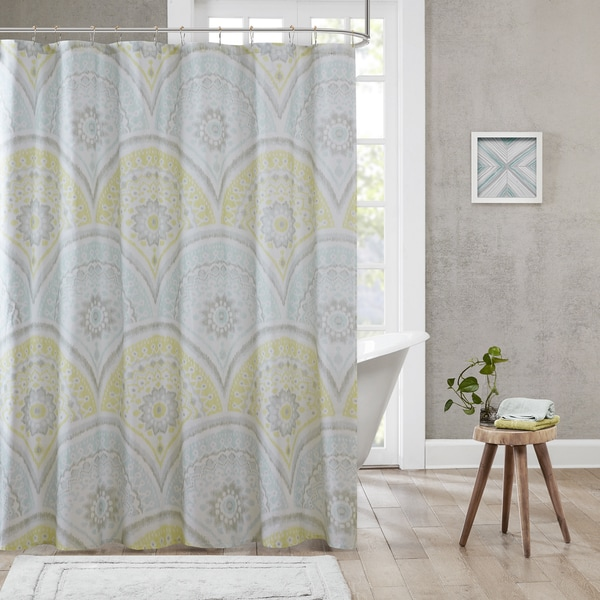 Urban Habitat Nicolette Yellow Cotton Printed Shower Curtain