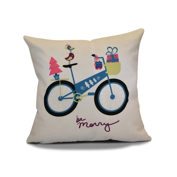 26 x 26-inch Merry Bird Bike Holiday Geometric Print Pillow