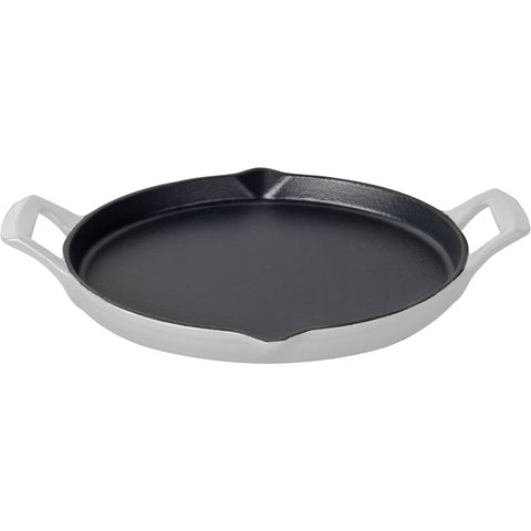 La Cuisine White Enamel/Cast Iron 12-inch Round Shallow Griddle With 2 Wedge Handles