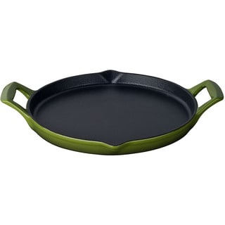 La Cuisine Green Enamel/Cast Iron 12-inch Round Shallow Griddle With 2 Wedge Handles