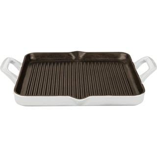 LaCuisine White Rectangular 1-quart Cast Iron Grill Pan with Enamel Finish