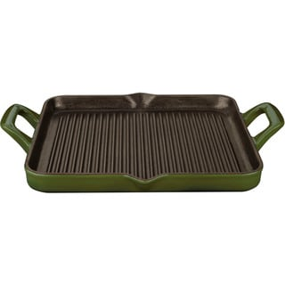 La Cuisine Green Rectangular 1-quart Cast Iron Grill Pan with Enamel Finish