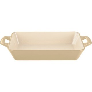 La Cuisine Cream Enamel Finish Deep Cast Iron Large Roasting Pan