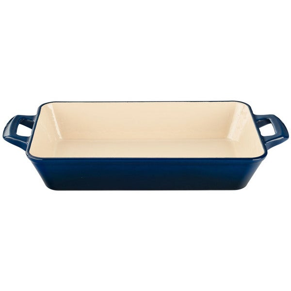 La Cuisine Blue Large Deep Cast Iron Roasting Pan with Enamel Finish