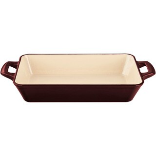 La Cuisine Ruby-red Deep Cast Iron Roasting Pan with Enamel Finish