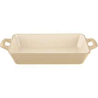 La Cuisine Cream Enamel Finish Medium Deep Cast-iron Roasting Pan
