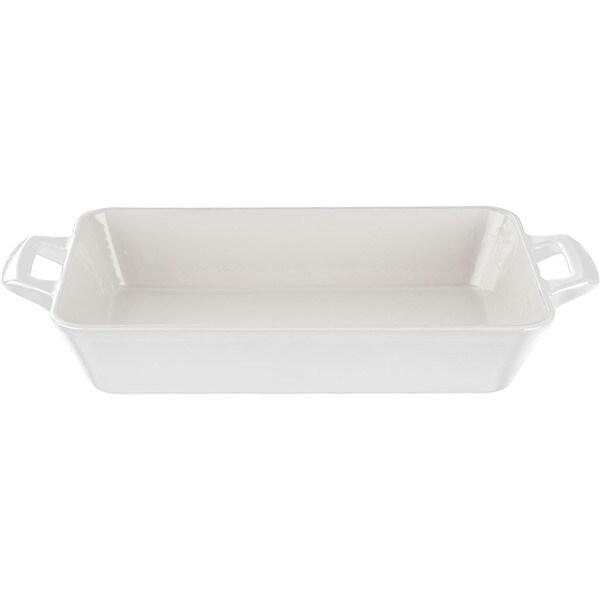 LaCuisine White Medium Deep Cast Iron Roasting Pan With Enamel Finish