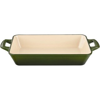 La Cuisine Green Medium Cast Iron Roasting Pan with Enamel Finish