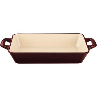 La Cuisine Ruby with Enamel Finish Medium Deep Cast-iron Roasting Pan