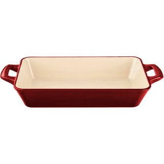 LaCuisine Red Medium Deep Cast Iron Roasting Pan with Enamel Finish