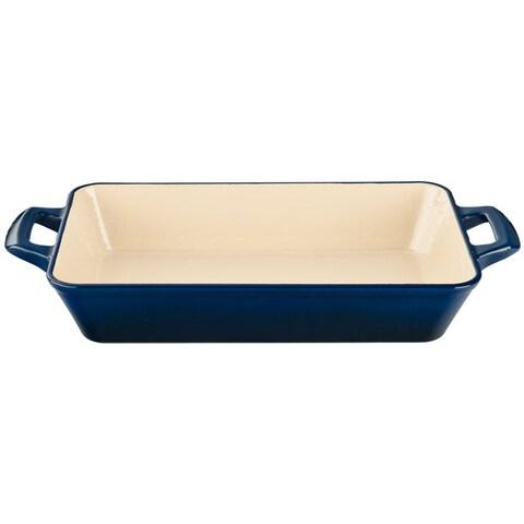 La Cuisine Small Deep Cast Iron Roasting Pan with Blue Enamel Finish