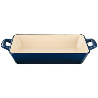 La Cuisine Small Deep Cast Iron Roasting Pan with Blue Enamel Finish