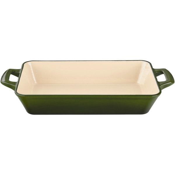 La Cuisine Green Small Cast Iron Roasting Pan with Enamel Finish