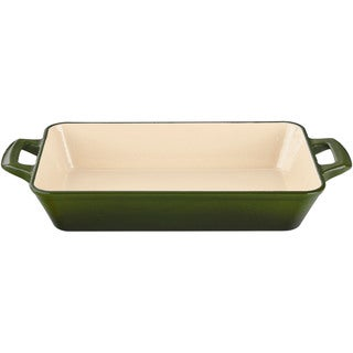 La Cuisine Green Small Cast Iron Roasting Pan with Enamel Finish