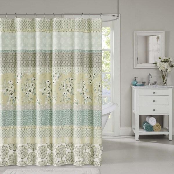 Madison park felicity cotton shower curtain 2 color option - Madison park bathroom accessories ...