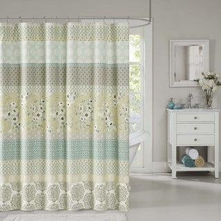 Madison Park Felicity Cotton Green Shower Curtain