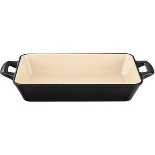 La Cuisine Small Deep Cast Iron Roasting Pan with Enamel Finish, Black