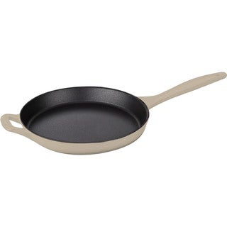 LaCuisine Cream Round 10-inch Cast Iron Skillet with Integrated Cast Iron Handles and Enamel Finish