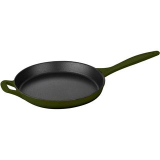 La Cuisine Green Cast Iron 10-inch Round Skillet with Integrated Cast Iron Handles and Enamel Finish