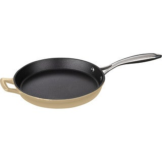 La Cuisine Round 10-inch Cream-colored Cast Iron Fry Pan Stainless Steel Handle and Enamel Finish