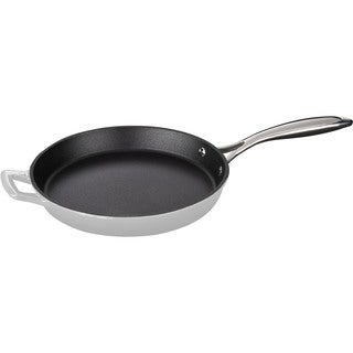 La Cuisine Round 10-Inch Cast Iron Fry Pan with Riveted Stainless Steel Handle and White Enamel Finish