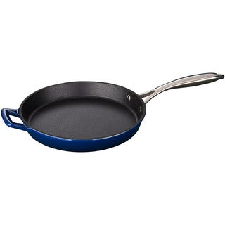 LaCuisine Blue Round 10-inch Cast Iron Fry Pan with Riveted Stainless Steel Handle and Enamel Finish
