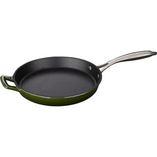 La Cuisine Green 10-inch Round Cast Iron Fry Pan with Riveted Stainless Steel Handle and Enamel Finish