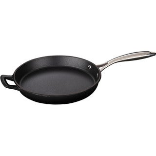 La Cuisine Round 10 In. Cast Iron Fry Pan with Riveted Stainless Steel Handle and Enamel Finish, Black