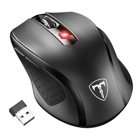 Black 6-button 2,400-DPI 2.4G Wireless Mouse with Nano Receiver, 15-month Battery Life, and 5 Adjustable Levels