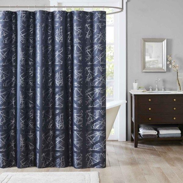 Madison Park Nico Jacquard Shower Curtain -3 Color Option