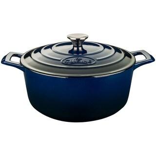 La Cuisine Blue Round Cast Iron 6.5-quart Casserole with Enamel Finish
