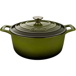 La Cuisine Green 6.5-quart Round Cast Iron Casserole with Enamel Finish