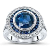 Noori 18k White Gold 3ct TGW Blue Sapphire and 1/4ct TDW Diamond Engagement Ring (F-G, SI1-SI2)