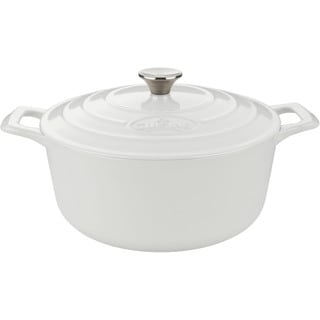 La Cuisine Round 3.7 Qt. Cast Iron Casserole with White Enamel Finish